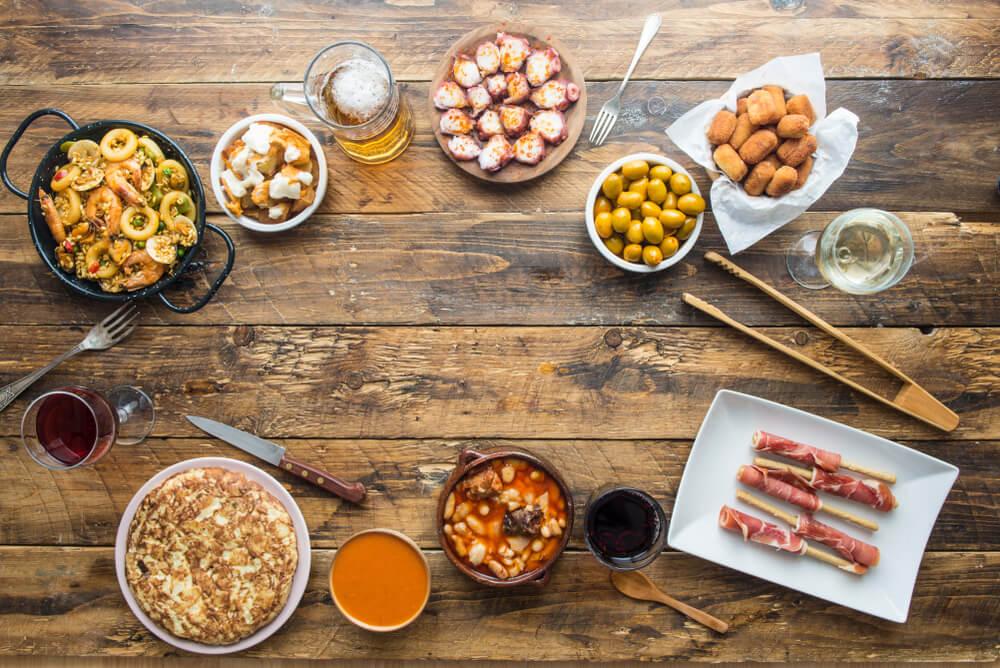 Croquetas de Jamón ingredients on wooden table